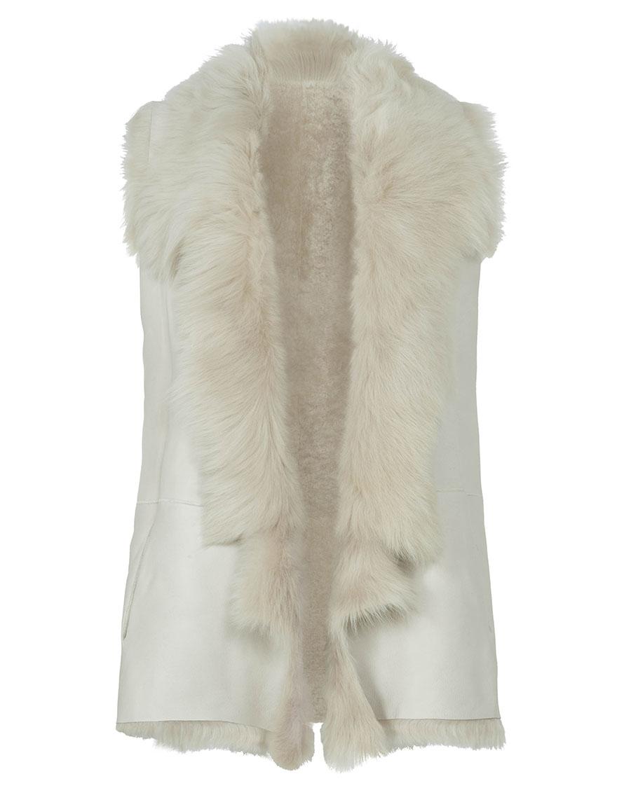 Mixed Texture Shearling Gilet in White | Women | Gushlow & Cole 2