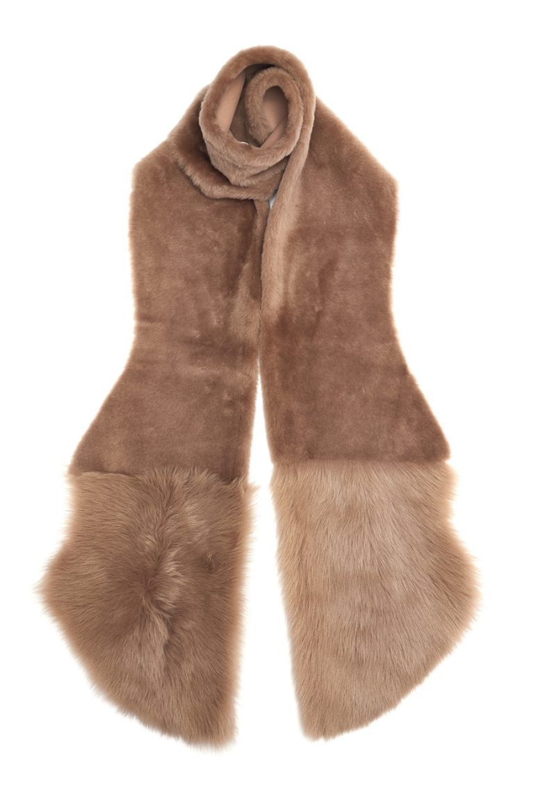 Shearling Mixed Scarf in Camel | Women | Gushlow & Cole 2
