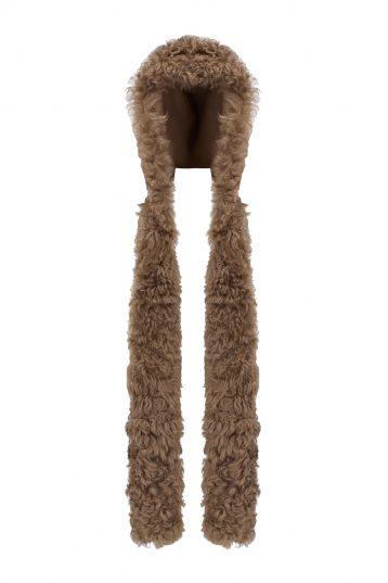 Shearling Hood Scarf in Camel | Women | Gushlow & Cole 1