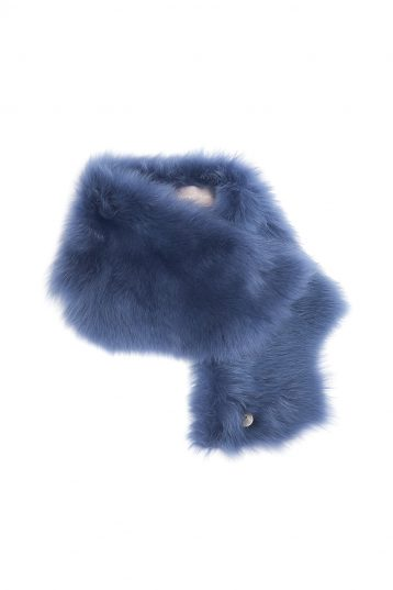 Baby Button Shearling Scarf in Iris Blue | Women | Gushlow & Cole 2