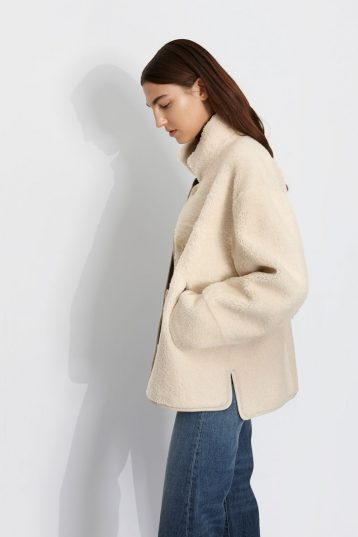 Boxy Shearling Jacket in White | Women | Gushlow & Cole 2