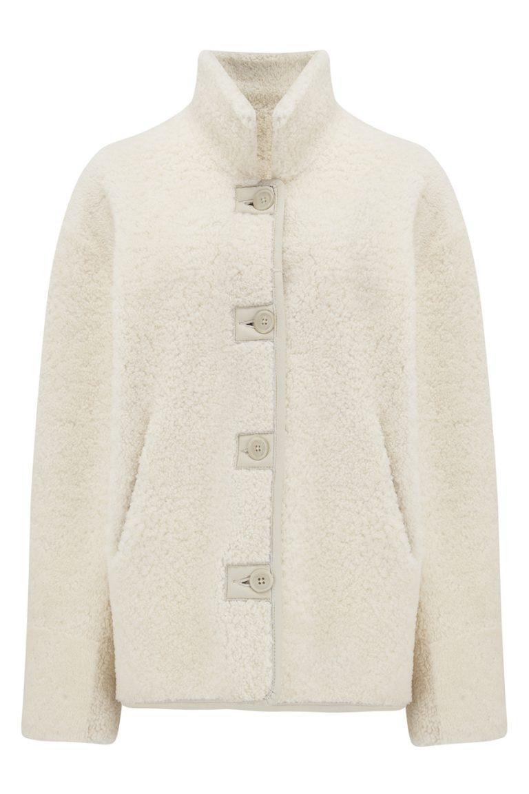 Boxy Shearling Jacket in White | Women | Gushlow & Cole 3