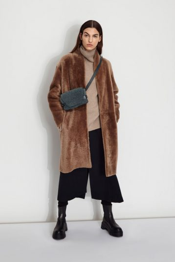 Wool and Shearling Crombie Coat in Camel | Women | Gushlow & Cole