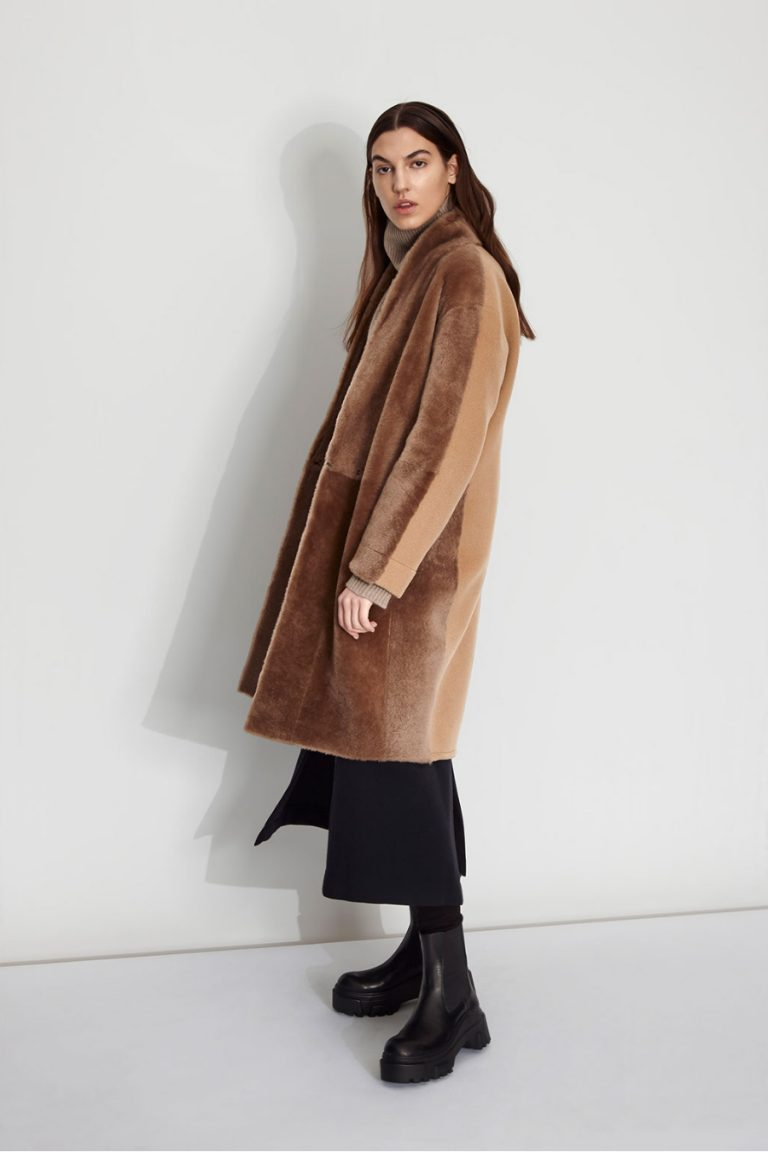 Wool and Shearling Crombie Coat in Camel | Women | Gushlow & Cole 4