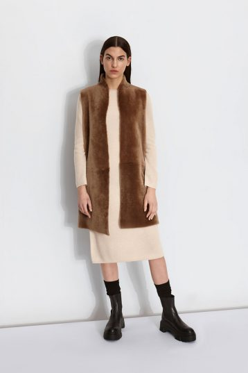 Wool and Shearling Crombie Gilet in Camel | Women | Gushlow & Cole