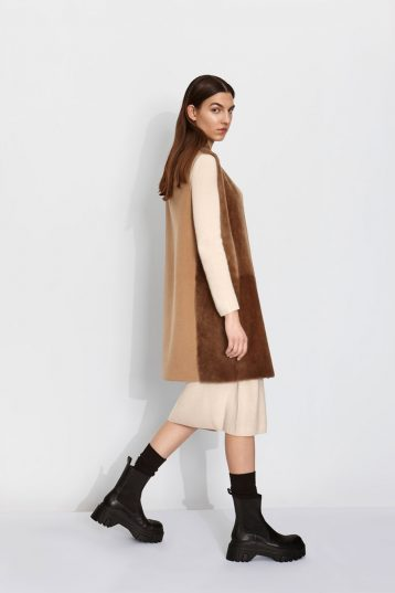 Wool and Shearling Crombie Gilet in Camel | Women | Gushlow & Cole 2