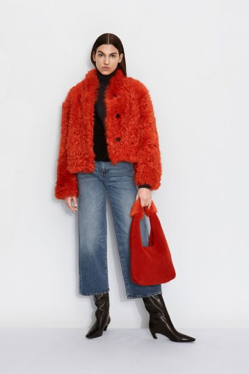 Cropped Shearling Jacket in Furnace Orange | Women | Gushloiw & Cole