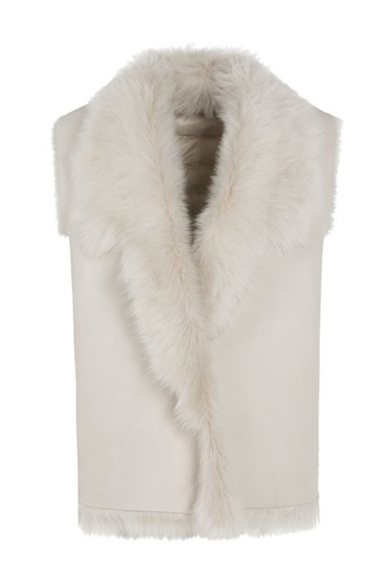 Shearling and Down Gilet in White | Women | Gushlow & Cole 4