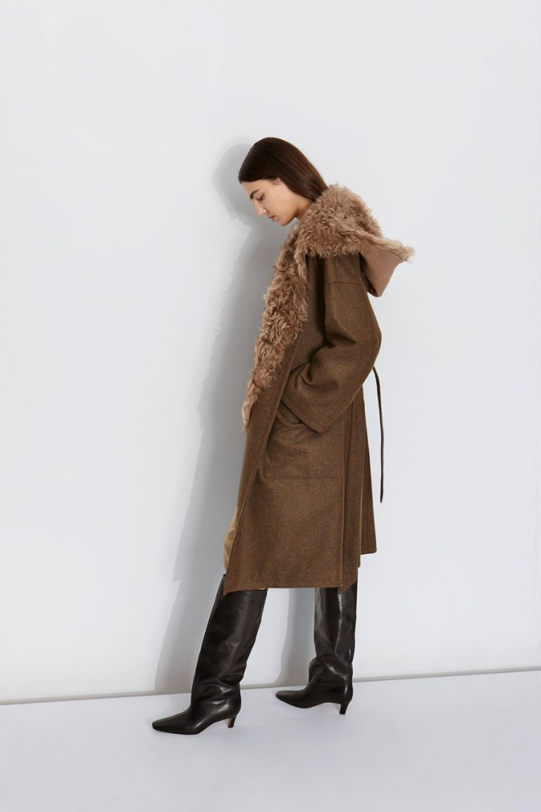 Double Breasted Wool Tweed Coat in Army Green | Women | Gushlow & Cole 2
