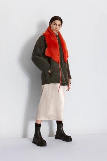 Shearling Cocoon Coat in Dark Green | Women | Gushlow & Cole 2