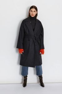 Double Breasted Wool Tweed Coat in Navy | Women | Gushlow & Cole 1