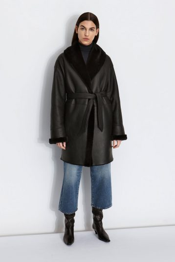 Oversized Shearling Shawl Coat in Black | Women | Gushlow & Cole model
