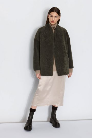 Shearling Cocoon Coat in Dark Green | Women | Gushlow & Cole 1