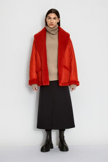 Oversized Shearling Aviator Jacket in Furnace Orange | Women | Gushlow & Cole 1