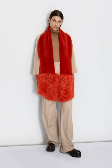Shearling Mixed Scarf in Furnace Orange | Women | Gushlow & Cole