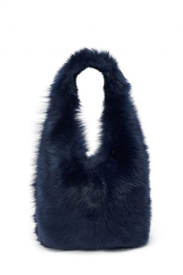 Medium Shearling Tote Bag in Navy | Handbags | Gushlow & Cole 2