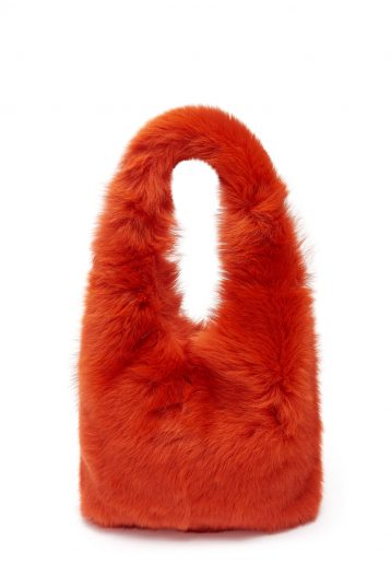 Mini Evening Shearling Tote Bag in Furnace Orange | Handbags | Gushlow & Cole
