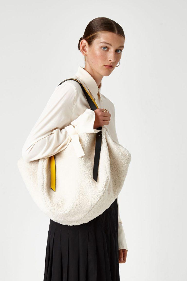 Leather Trimmed Shearling Shoulder Bag in White | Handbags | Gushlow & Cole 5
