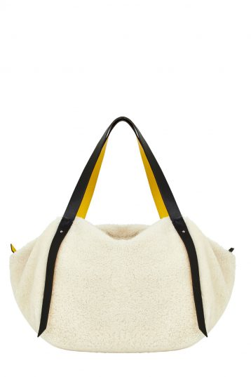 Leather Trimmed Shearling Shoulder Bag in White | Handbags | Gushlow & Cole