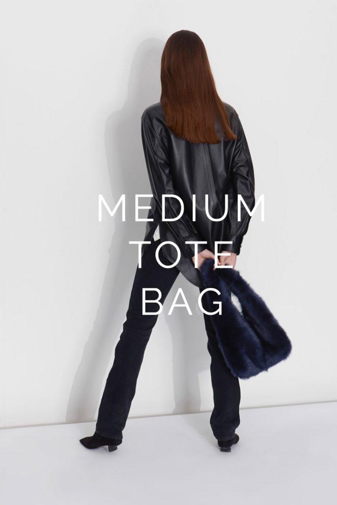 The New Season Shearling Bags - blog post - tote bag - navy