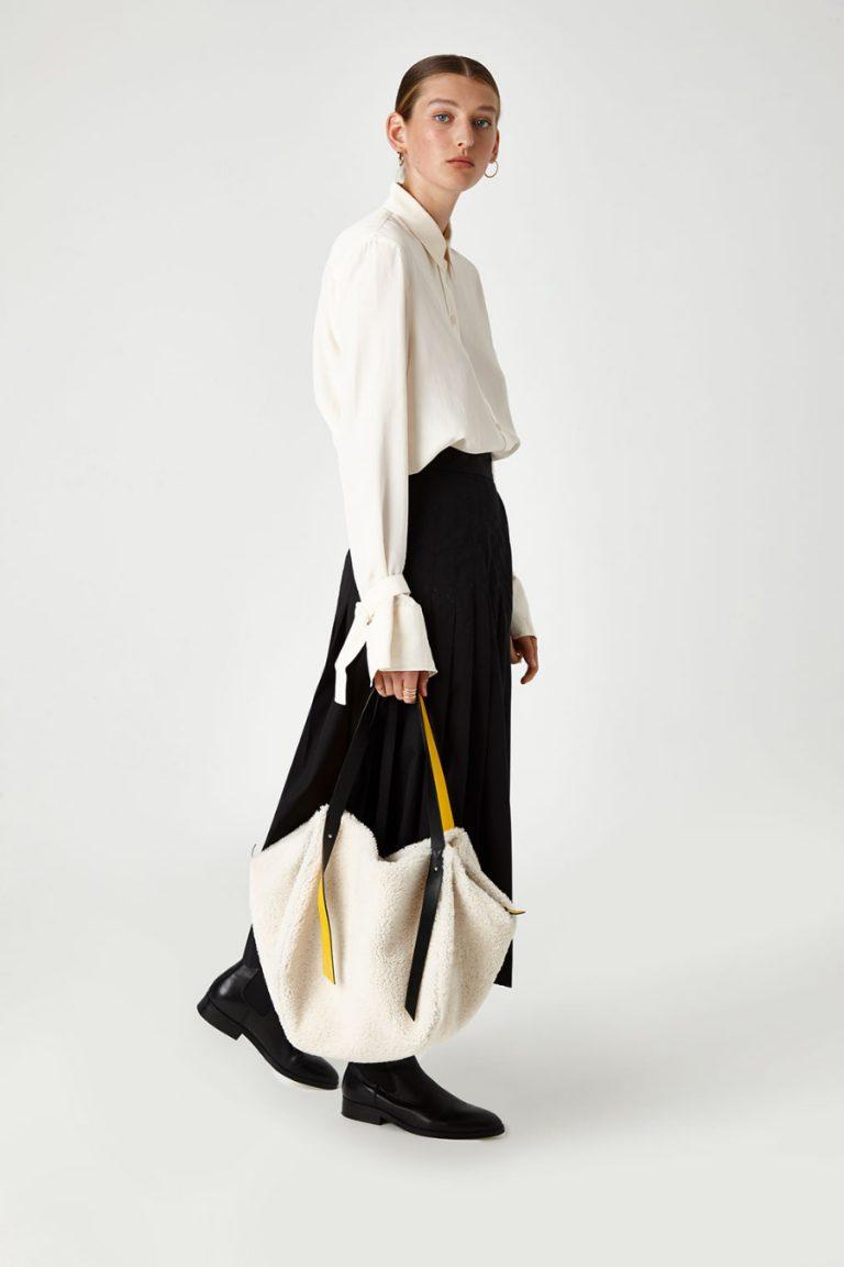 Leather Trimmed Shearling Shoulder Bag in White | Handbags | Gushlow & Cole 4