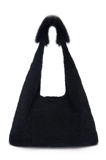 Mixed Texture Shearling Slouch Bag in Graphite Black | Handbags| Gushlow & Cole
