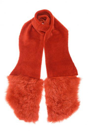 Shearling Mixed Scarf in Furnace Orange | Women | Gushlow & Cole 2