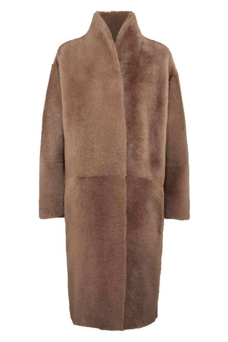 Wool and Shearling Crombie Coat in Camel | Women | Gushlow & Cole 3