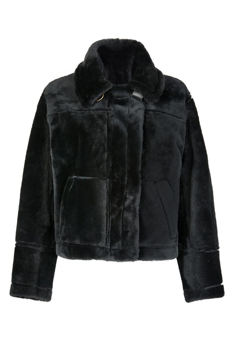 Shearling Aviator Jacket in Black | Women | Gushlow & Cole 1