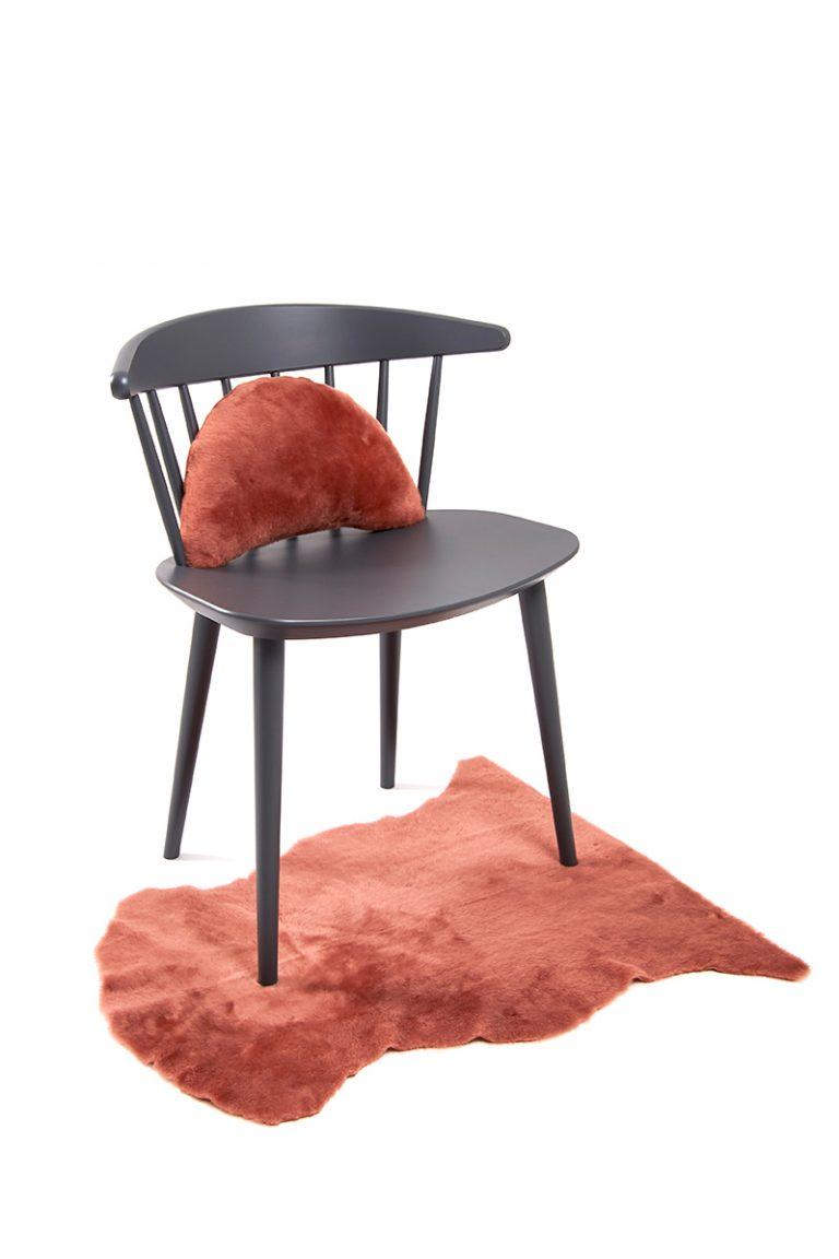 Half Moon Sheepskin Cushion in Cantaloupe Orange side