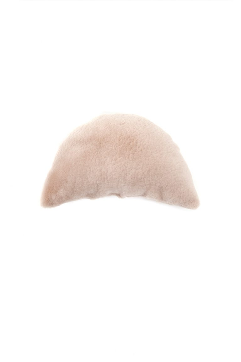 Half Moon Sheepskin Cushion in Beige cut out