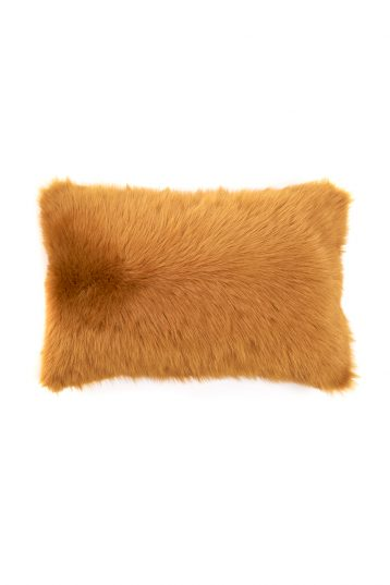 Large Toscana Sheepskin Cushion in Mustard Yellow cut out front