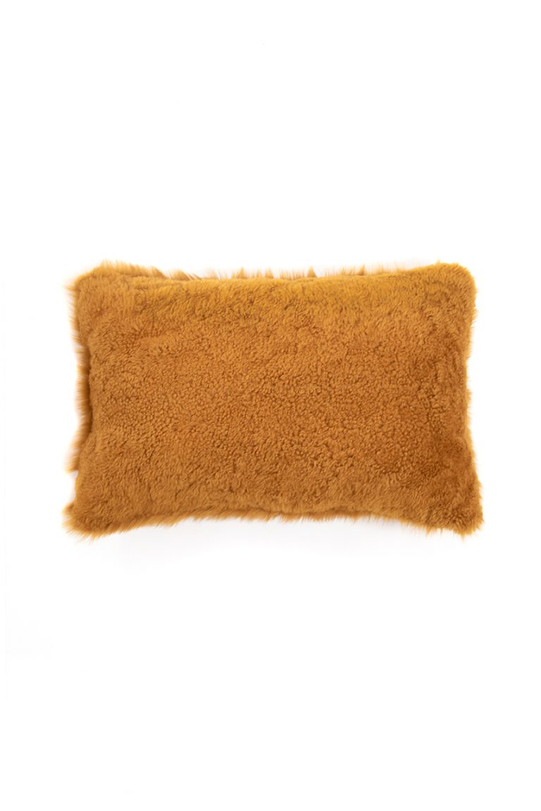 Large Toscana Sheepskin Cushion in Mustard Yellow cut out back