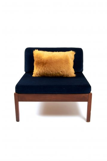 Large Toscana Sheepskin Cushion in Mustard Yellow front