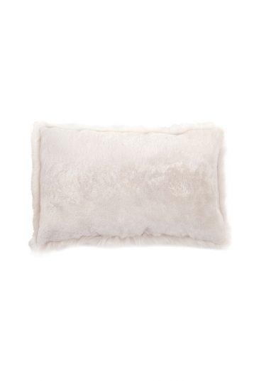 Large Toscana Sheepskin Cushion in White cut out back