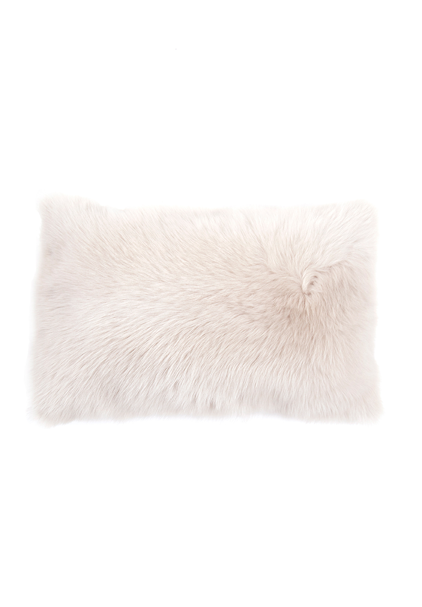 Large Toscana Sheepskin Cushion in White cut out front