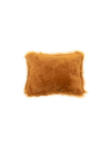 Small Toscana Sheepskin Cushion in Mustard Yellow cut out back