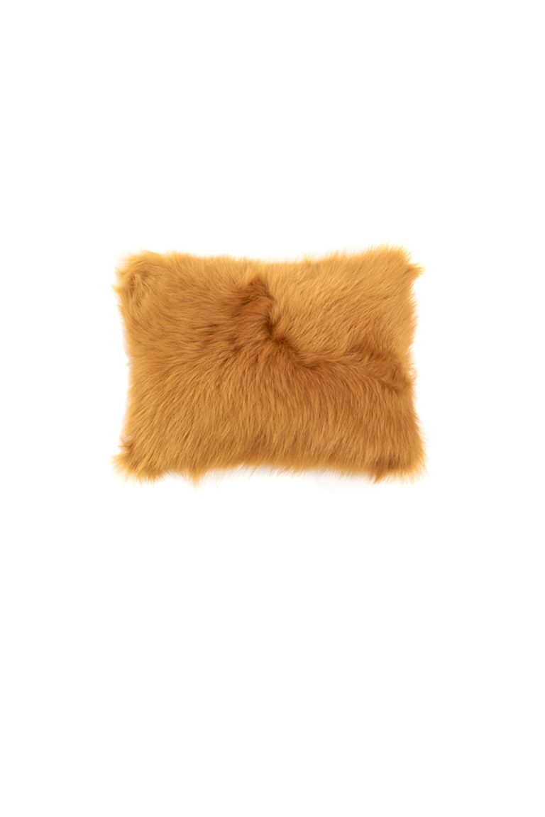 Small Toscana Sheepskin Cushion in Mustard Yellow cut out front