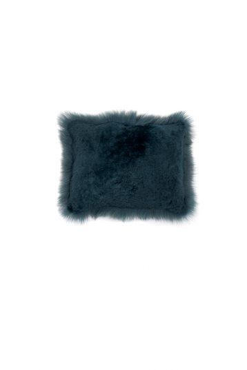 Small Toscana Sheepskin Cushion in Spruce Green cut out back