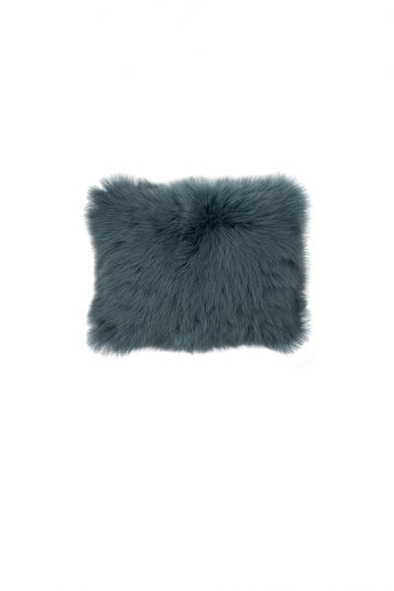 Small Toscana Sheepskin Cushion in Spruce Green cut out front
