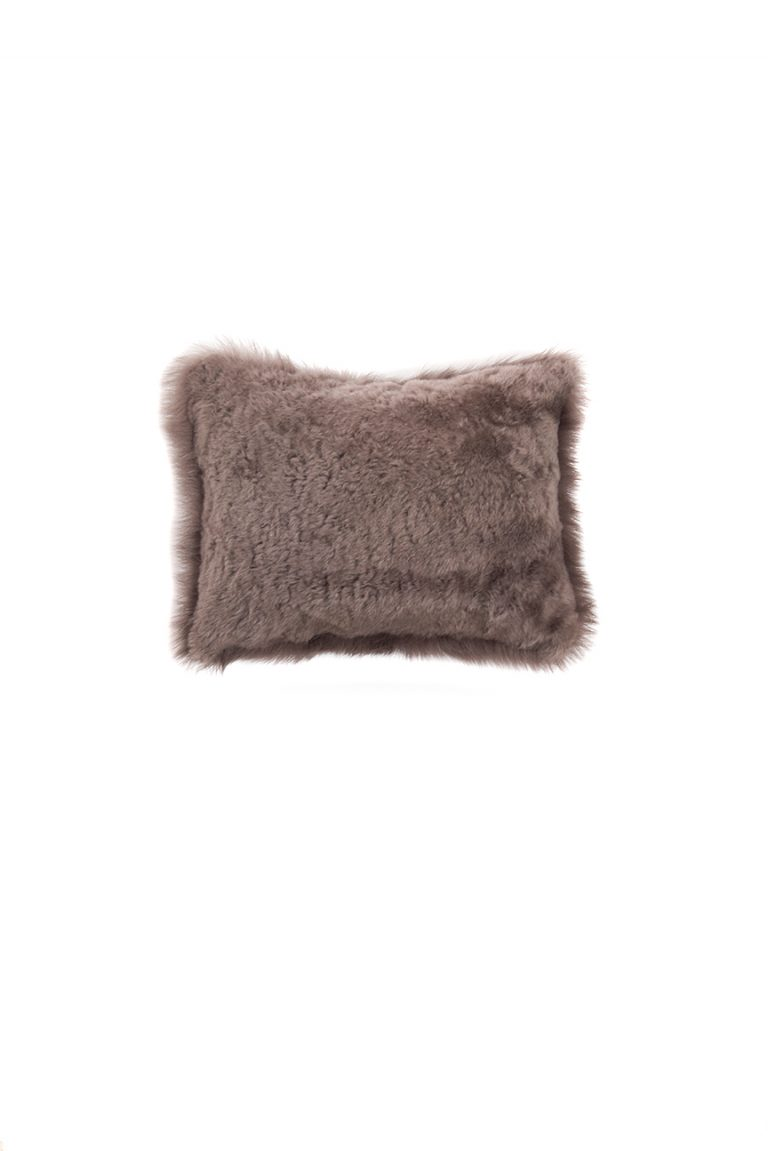 Small Toscana Sheepskin Cushion in Taupe cut out back
