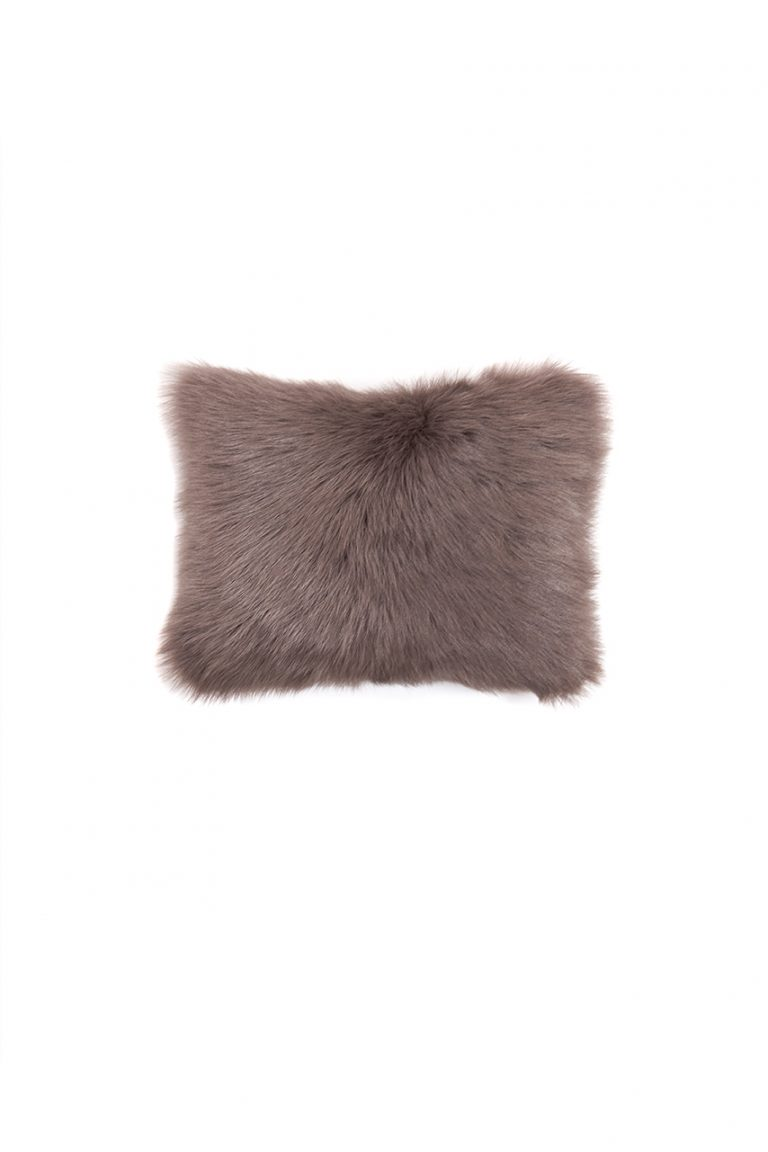 Small Toscana Sheepskin Cushion in Taupe cut out front
