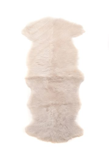 Double Toscana Sheepskin Rug in White cut out