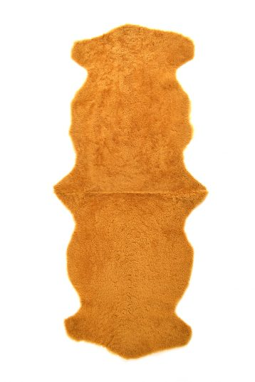 Double Teddy Merinillo Sheepskin Rug in Mustard Yellow cut out