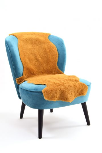 Double Teddy Merinillo Sheepskin Rug in Mustard Yellow side