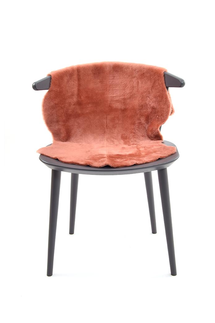 Medium Merino Sheepskin Rug in Cantaloupe Orange front