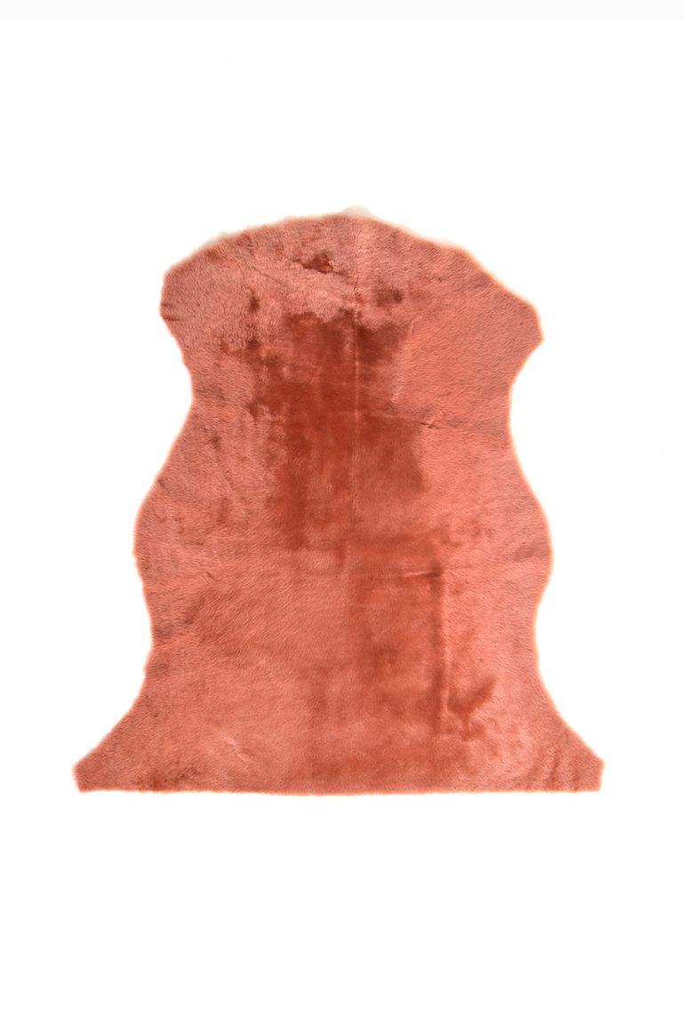 Medium Merino Sheepskin Rug in Cantaloupe Orange cut out