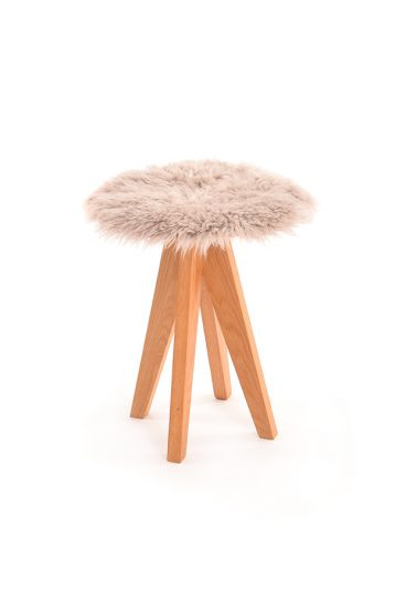 Curly Sheepskin Seat Pad in Beige
