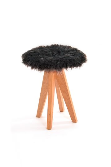 Curly Sheepskin Seat Pad in Dark Grey