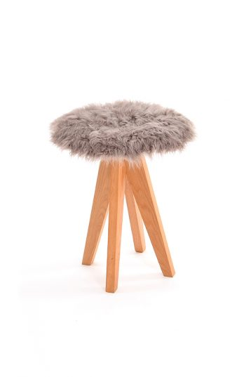 Curly Sheepskin Seat Pad in taupe stool